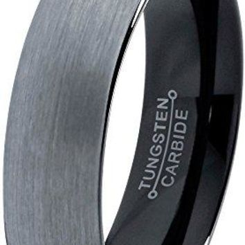 6MM Tungsten Wedding Band Ring for Men Women Comfort Fit Black Domed Brushed