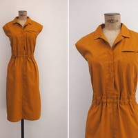 1970s Dress - Vintage 70s Mustard Shirt Dress - Melifera Dress