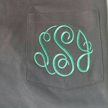 Monogrammed Pocket Tee - Several colors to choose from- Sorority- Valentines Gift