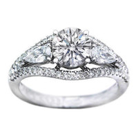 Engagement Ring - Diamond Heirloom Engagement Ring Pear Side stones 0.70 tcw. In 14K White Gold - ES248