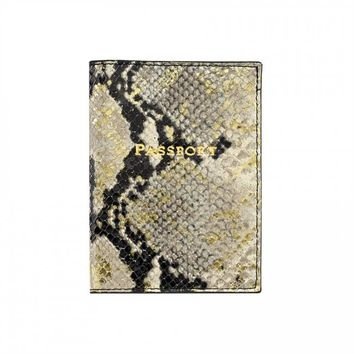 Passport Holder Gold Embossed Python
