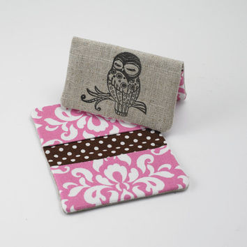 Business Card Case, Credit Card Holder, Fabric Gift Card Wallet in Pink and White Damask
