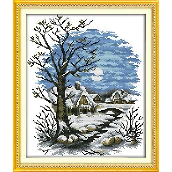 Winter fairy tale house Printed on Canvas DMC Counted Chinese Cross Stitch Kits printed Cross-stitch set Embroidery Needlework