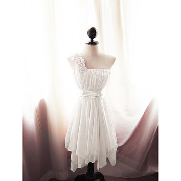Goddess Angel White Ivory Rehearsal Dinner Rose Romantic Chiffon Rosette Toga Prom Dress Flower Petal Great Gatsby Marie Antoinette Gown