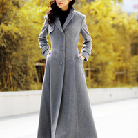 Grey Elegant Cashmere Coat Lapel Collar Women Wool Winter Slim Coat Long Jacket - NC485