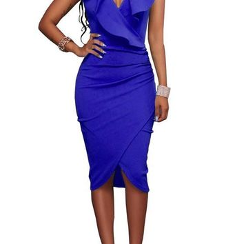 Deep Blue Ruffle Pleated Sleeveless Bodycon Prom Evening Party Midi Dress