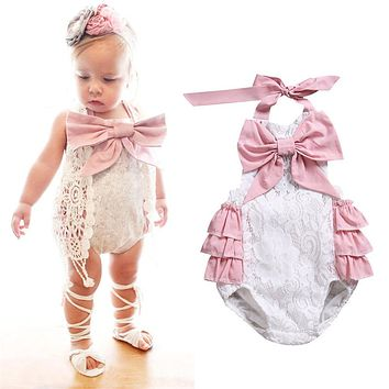 Newborn Infant Baby Girl Bow knot lace backless Romper  new arrival fashion Summer Jumpsuit Outfits Clothes