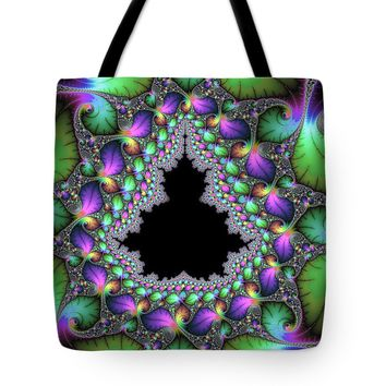 Luxe Floral Mandelbrot Fractal Jewel Colors Tote Bag