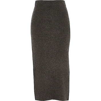 Grey ribbed knit midi skirt - Midi Skirts - Skirts - women