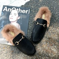 Women Retro Fashion Leather Plush Half Drag Slippers Flats Shoes