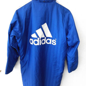 ON SALE 90's Vintage ADIDAS France National Team Blue Big Logo Parka Mod Hip Hop Zipper Bomber Jacket Comfort Training Sport