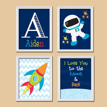 Rocket Outer Space Ship Boy Name Monogram I Love You to the Moon Set of 4 Prints WALL Baby Decor ART Crib NURSERY Child