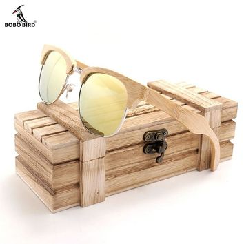 BOBO BIRD Brand Design European Wind Restoring Ancient Ways Sunglasses Women Wen Bamboo Wood Handmade Sun Glasses Vintage