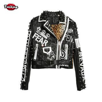 7mang Women Punk Party Street Letter Printing Leather Jacket Black Rivet Beading Long Sleeve Motorcycle Leopard Rock Coat