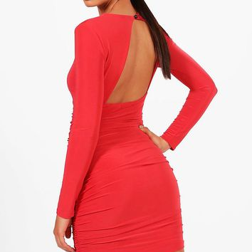 Vic Slinky Ruched Side Open Back Micro Mini Bodycon Dress | Boohoo
