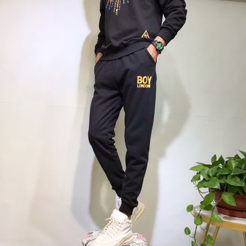 """""""Boy London"""" Unisex Casual Letter Print Pocket Hot Stamping Sweatpants Couple Thickened Leisure Pants Trousers"""