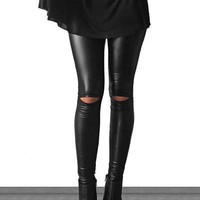 Kick It Out Faux Leather Cutout Leggings