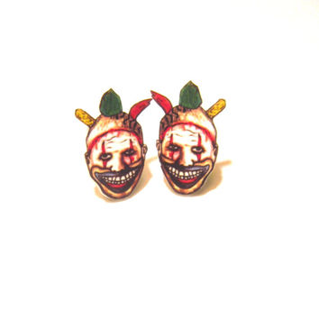 twisted clown earrings, creepy, horror, novelty jewelry, fandom jewelry
