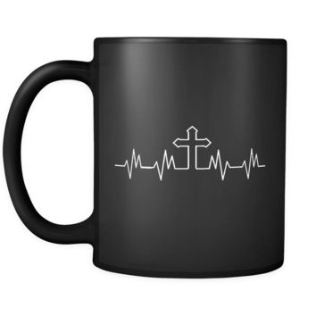 Cross Heartbeat Mug (Religious Coffee Mug in Black)