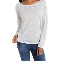 Ivory Crochet-Back Sweater Knit Pullover by Charlotte Russe
