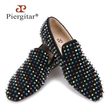 Piergitar 2017 men leather shoes with mixed colors rivets luxurious smoking loafers