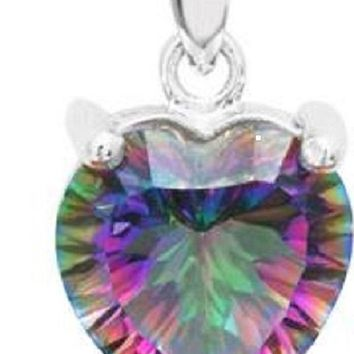 "Mystic Fire Topaz Pendant Heart Shaped Necklace with 18"" Silver Plated Starry Rope Chain"