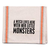 Primitives by Kathy 'A Witch Lives Here With Her Little Monsters' Tea Towel