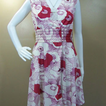 1960s Red and White Poppy Print Asian Inspired Wrap Kimono Dress - Mr. Mort