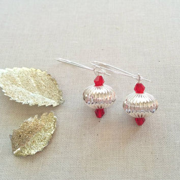 Silver Christmas Ornament Earrings; Holiday Jewelry; Vintage Style; Dangle Earrings