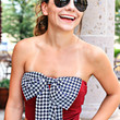 PUT A BOW ON IT CROP TOP IN WINE/HOUNDSTOOTH