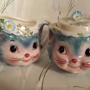 Kitsch Antique Miss Priss Kitty Kitten Cat Lefton Ceramic Creamer and Sugar Bowl No.1508 Red Label
