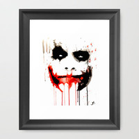 Joker Bat face watercolor Framed Art Print by Justinart13