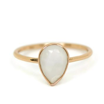 18k Rose Gold Sterling Silver White Moonstone Pear Teardrop Stackable Ring