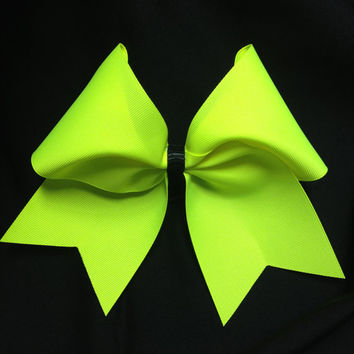 "Bright Neon Yellow Grosgrain 3"" Cheer Bow"