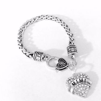 Crystal Mimi Heart Mother's Day Gift For Grandma Grandmother Charm Bracelet