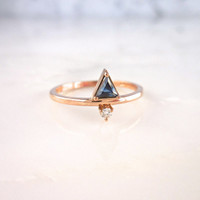 Triangle Sapphire Ring, Sapphire and Diamond Ring, Rose Gold Sapphire Ring, Triangle Sapphire, Delicate Blue Sapphire Diamond Ring