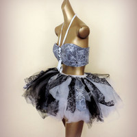 Adult Halloween Costume Adult witch, halloween spider tutu costume, adult tutu, lace tulle cotton rag skirt, Steampunk , edc edm