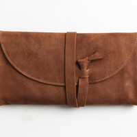 Brown leather wallet, women wrap around purse, wallet with one zipper pocket and 6 slots, brown pouch, card holder, minimalist gift for her