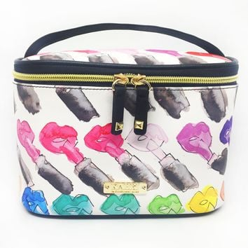 Rainbow Lips and Lipstick Saffiano Train Case