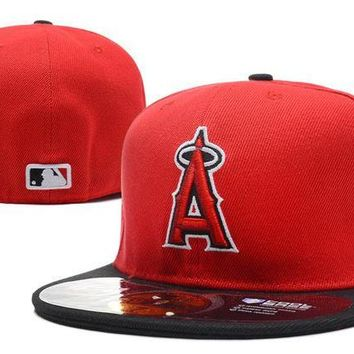 LMF8KY Los Angeles Angels of Anaheim New Era 59FIFTY MLB Cap Red-Black