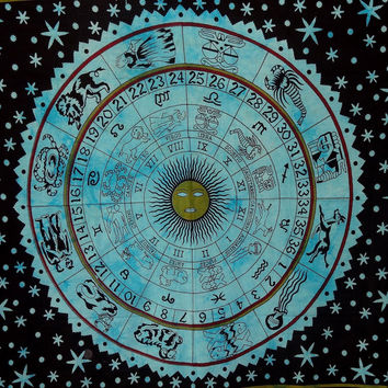 """MyNeLo 1 X Zodiac Tapestry Wall Hanging Horoscope Tapestry Indian Astrology Hippie Wall Tapestries for Dorms Boho Twin Bedding Zodiac Tapestry. (85"""" X 55')"""