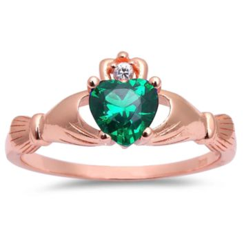 .925 Sterling Silver Rose Gold Emerald Green Claddagh Ring Ladies and Kids Size 3-12 Midi Heart