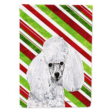 White Toy Poodle Candy Cane Christmas Flag Garden Size
