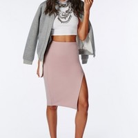 Missguided - Thigh High Split Scuba Midi Skirt Mauve
