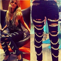 Black PU Leather Cut Out Denim Pants with Chains