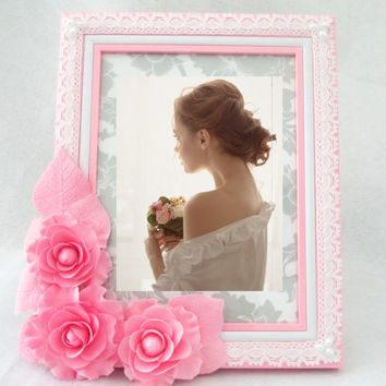 Gift idea. Photo frame with pink camellias. Eco. Shabby Chic. Home Decor. For Children Baby Kid. Girl. Beloved. ready to ship