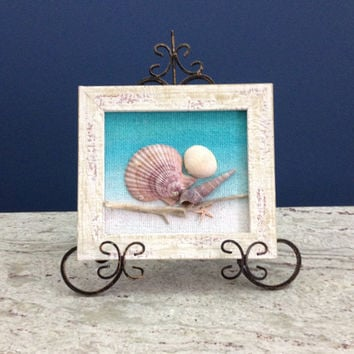 Framed sea shells, Shells in frame, Australian driftwood & shell art,  Beach wall art, Seashells in white frame, Rustic shell frame