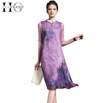 Chinese Style Cotton and Linen Ladies' Dress Half Sleeve Mandarin Collar Round Button Summer Dress Women