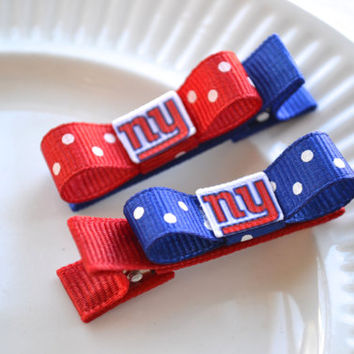 New York Giants Hair Clips - Toddler Hair Clips - NY Giants Bows - NY Giants Stocking Stuffer