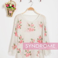 Floral Ripped Sweater